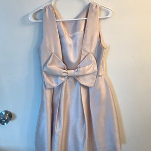 Gold Lulus dress with bow in back